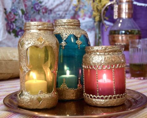 Votivos o faroles marroquies con frascos de vidrio reciclados