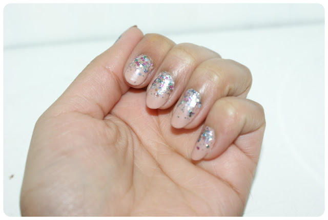Reverse Glitter Nails L'Oreal nail polish in Sequin Explosion and Sally Hansen Cafe Au Lait