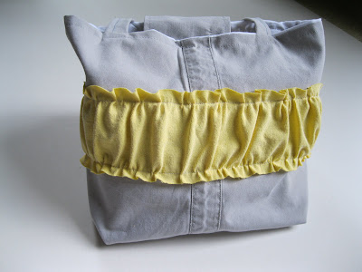 ruffled bag, up cycled from pants