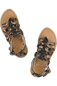 Nuria animal-print calf hair and leather flat sandals Christian ...
