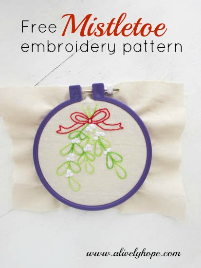 A Lively Hope Free Hand Embroidery Pattern Mistletoe