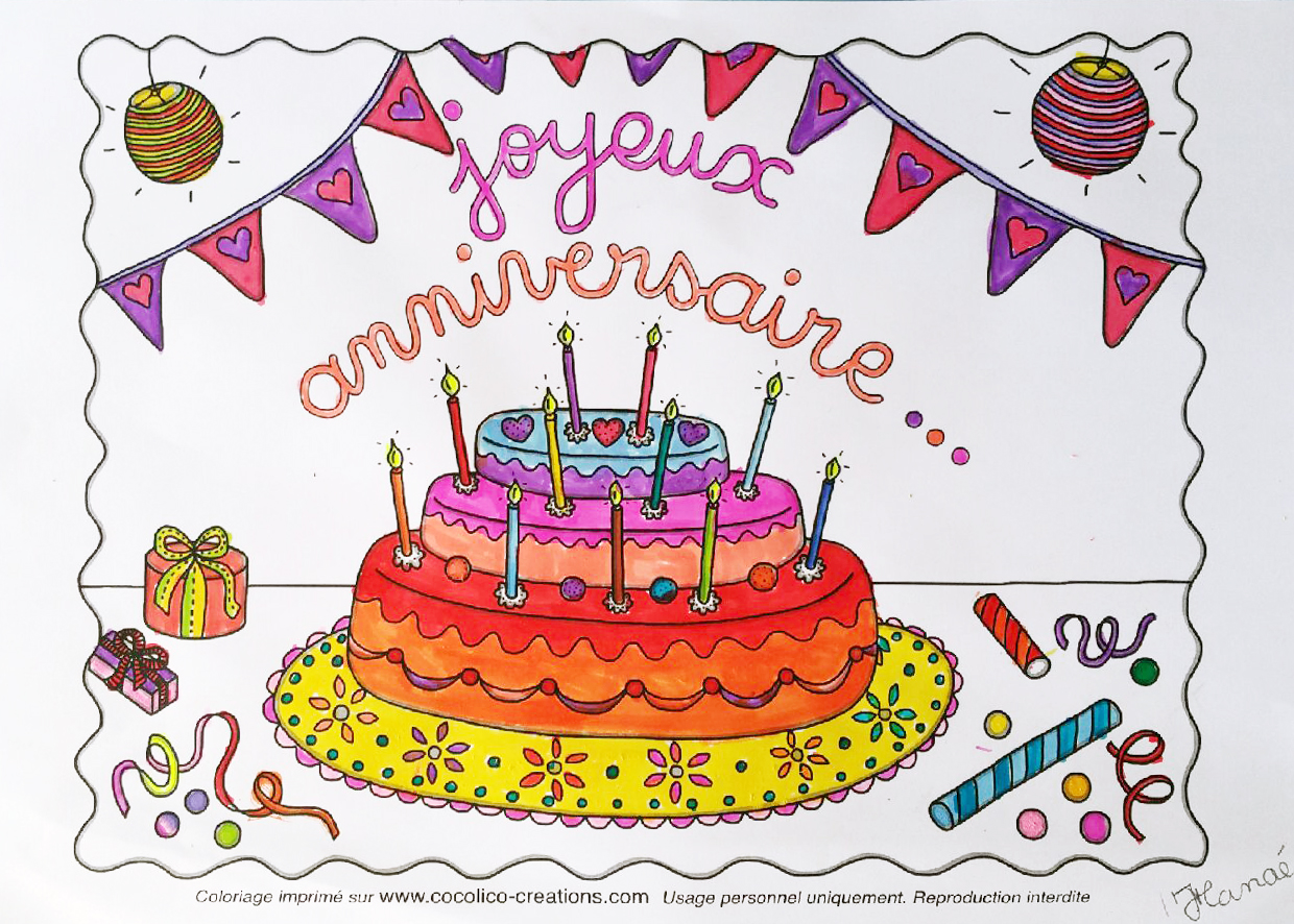 dessin de gateau d anniversaire a colorier les recettes populaires blogue le blog des g teaux. Black Bedroom Furniture Sets. Home Design Ideas