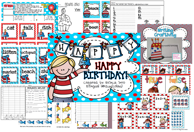 http://www.teacherspayteachers.com/Product/Happy-Birthday-Dr-nouns-verbs-ABC-writing-add-subtract-arrays-probability-1140601