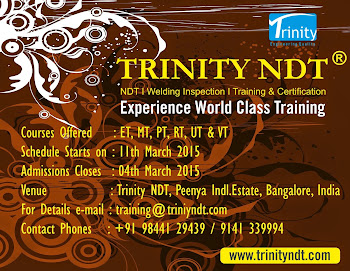 NDT Level II Training from 11 Mar 015 at Bangalore, India - world class training Click on Image