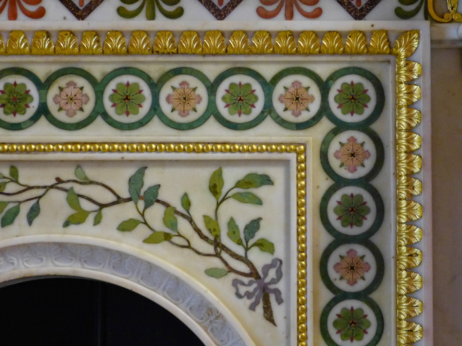 Detail from the Robert Adam fireplace in the Round Drawing Room, Strawberry Hill