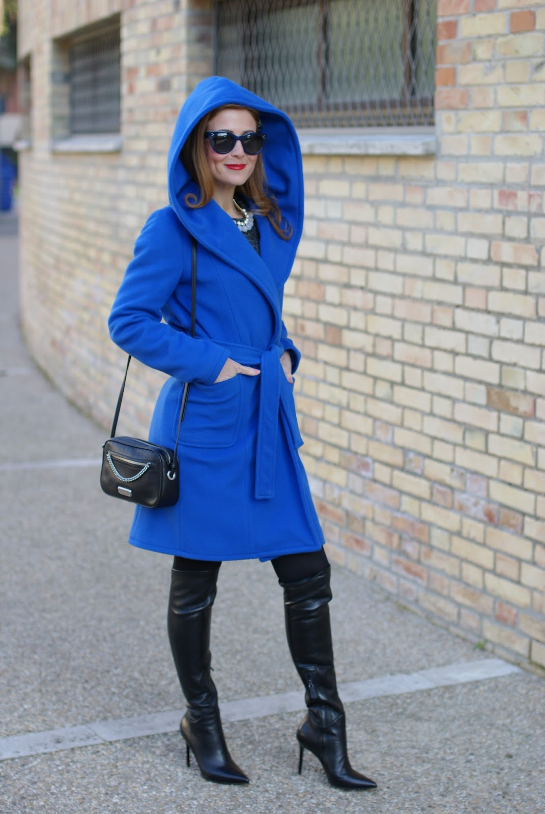 Wrap hooded coat and stiletto over the knee boots on Fashion and Cookies fashion blog, fashion blogger style