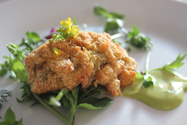 Fried Wellfleet oyster at Beacon Hill Bistro, Boston, Mass.