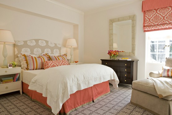 loving the coral and turquoise color schemes in these bedrooms