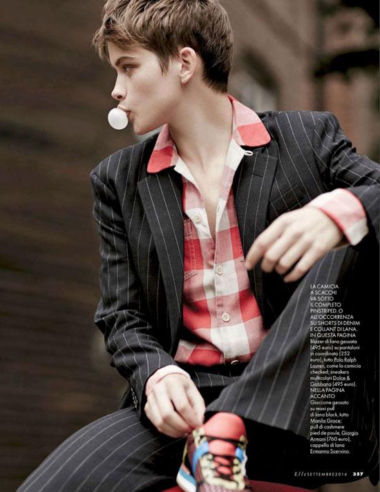 Benthe De Vries in Tendenze Boyish editorial | Elle Italia September 2014 (photography: Michael Sanders, styling: Micaela Sessa)