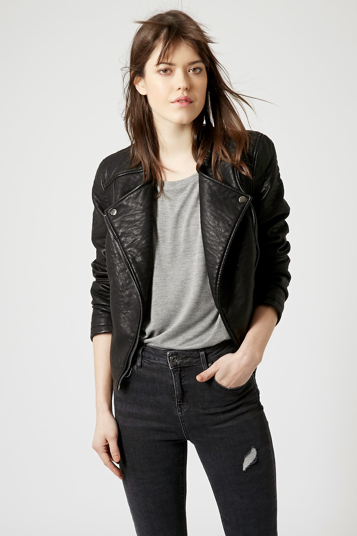 faux leather jacket topshop