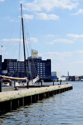schooner, boat, sailing, balitmore, harbor, domino sugar, dock