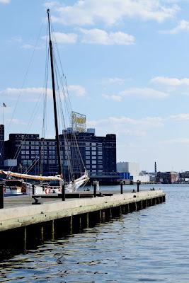 schooner, boat, sailing, balitmore, harbor, domino sugar, dock