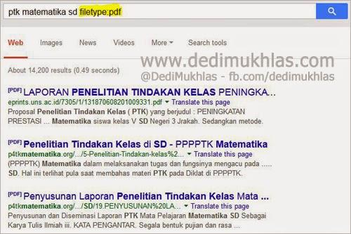 Cara Mencari Contoh PTK Matematika SD di Google.co.id