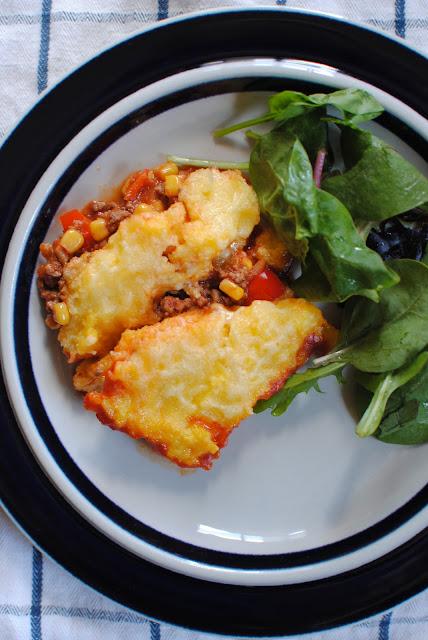 recept, köttfärsgratäng, polenta, lunchlåda