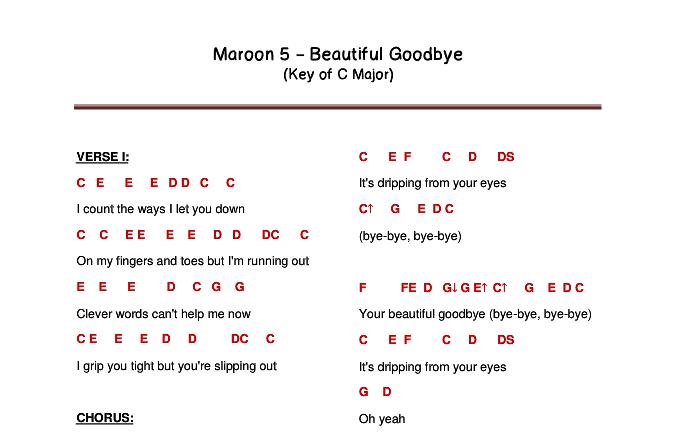 Flute Letter Notes: Maroon 5   Beautiful Goodbye (FluteLetterNotes)