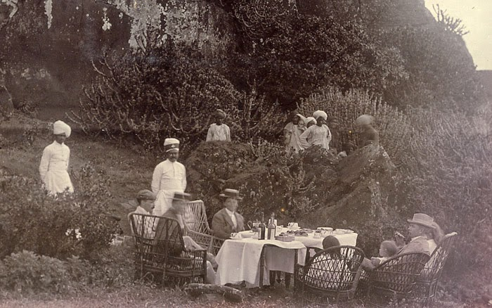A Picnic Party, Indian Servants Waiting nearby - c1890's