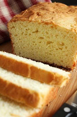 gluten-free white rice flour yeast bread, sliced loaf