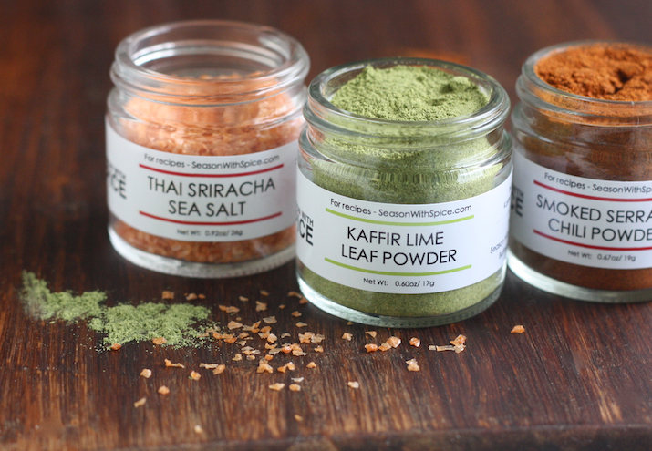 kaffir lime leaf powder, thai sriracha sea salt and smoked serrano chili powder available at SeasonWithSpice.com