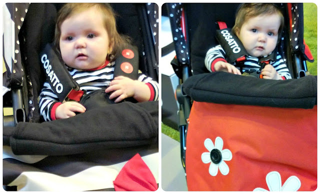 Baby Girl Modelling the Cosatto Giggle in Golightly and Bizzy Betty