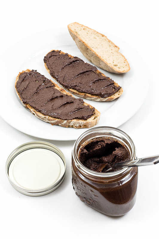 Homemade nutella on bread front