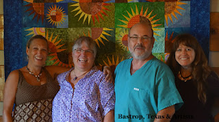 with my friends in front of one of Elizabeth's quilt [E is second from left]