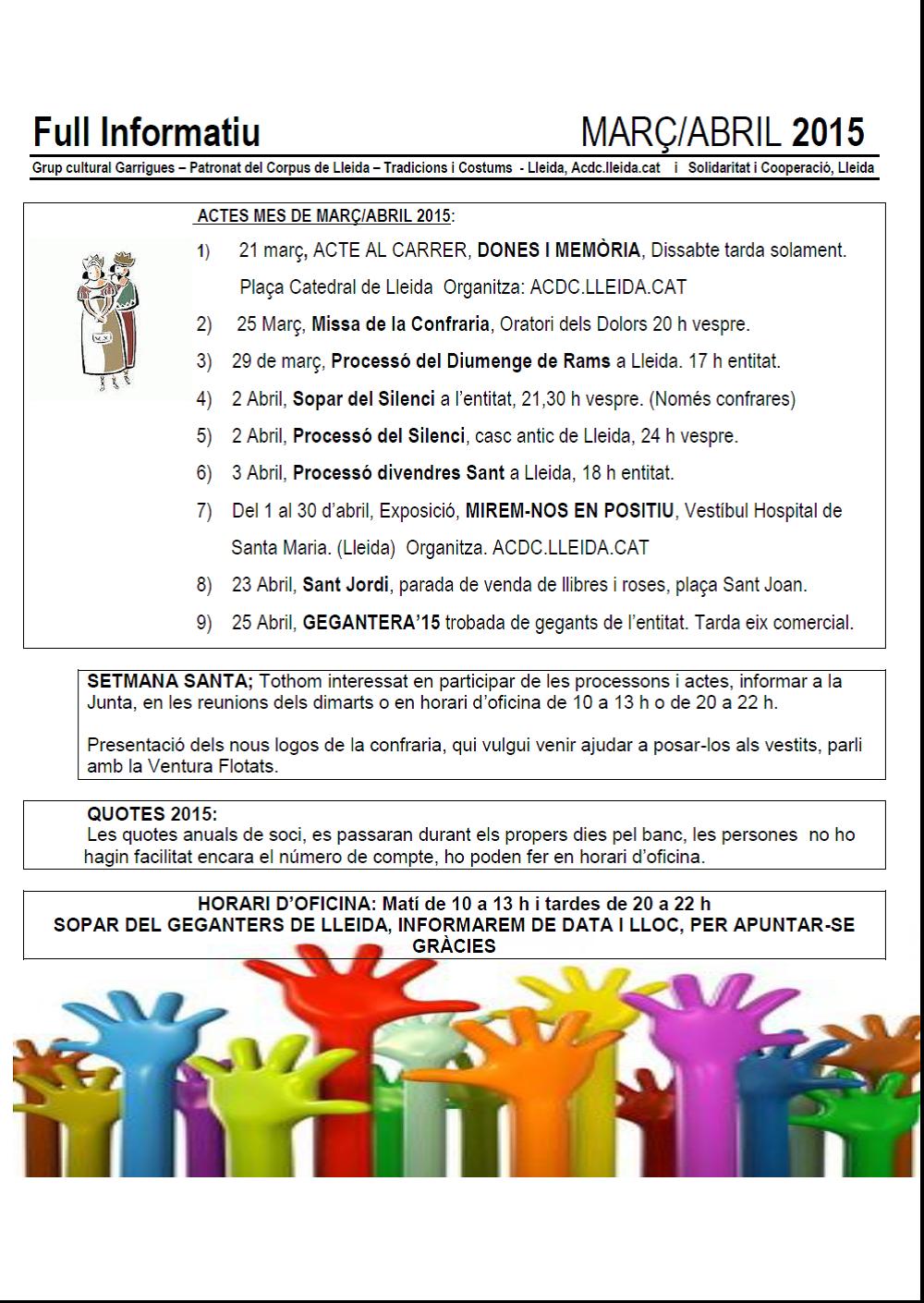 FULL INFORMATIU MARÇ/ABRIL 2015