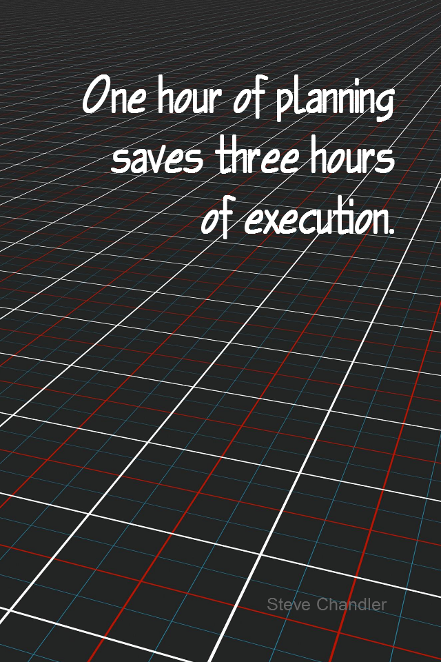 visual quote - image quotation for PLANNING - One hour of planning saves three hours of execution. - Steve Chandler