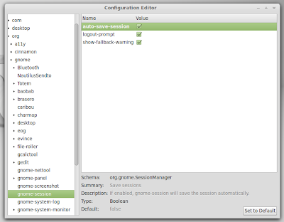 How to enable session saving in Linux Mint 13 Cinnamon