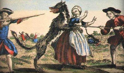 A dog-like beast mauling a woman