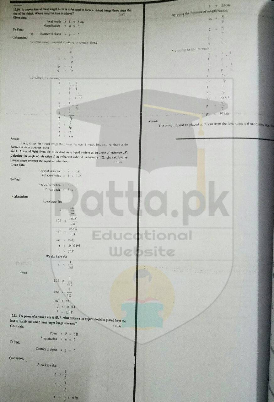 th physics chapter geometrical optics numerical problems 10th physics chapter 12 geometrical optics numerical problems 4