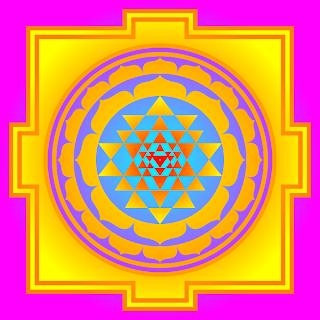 шри янтра, или шри чакра с маха меру в виде плоского изображения