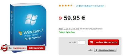Windows 7 Professional (32bit oder 64bit) bei rakuten.de für 49,95 Euro