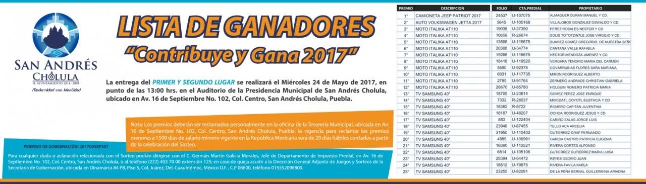 Lista de ganadores por pago del predial en San Andrés Cholula