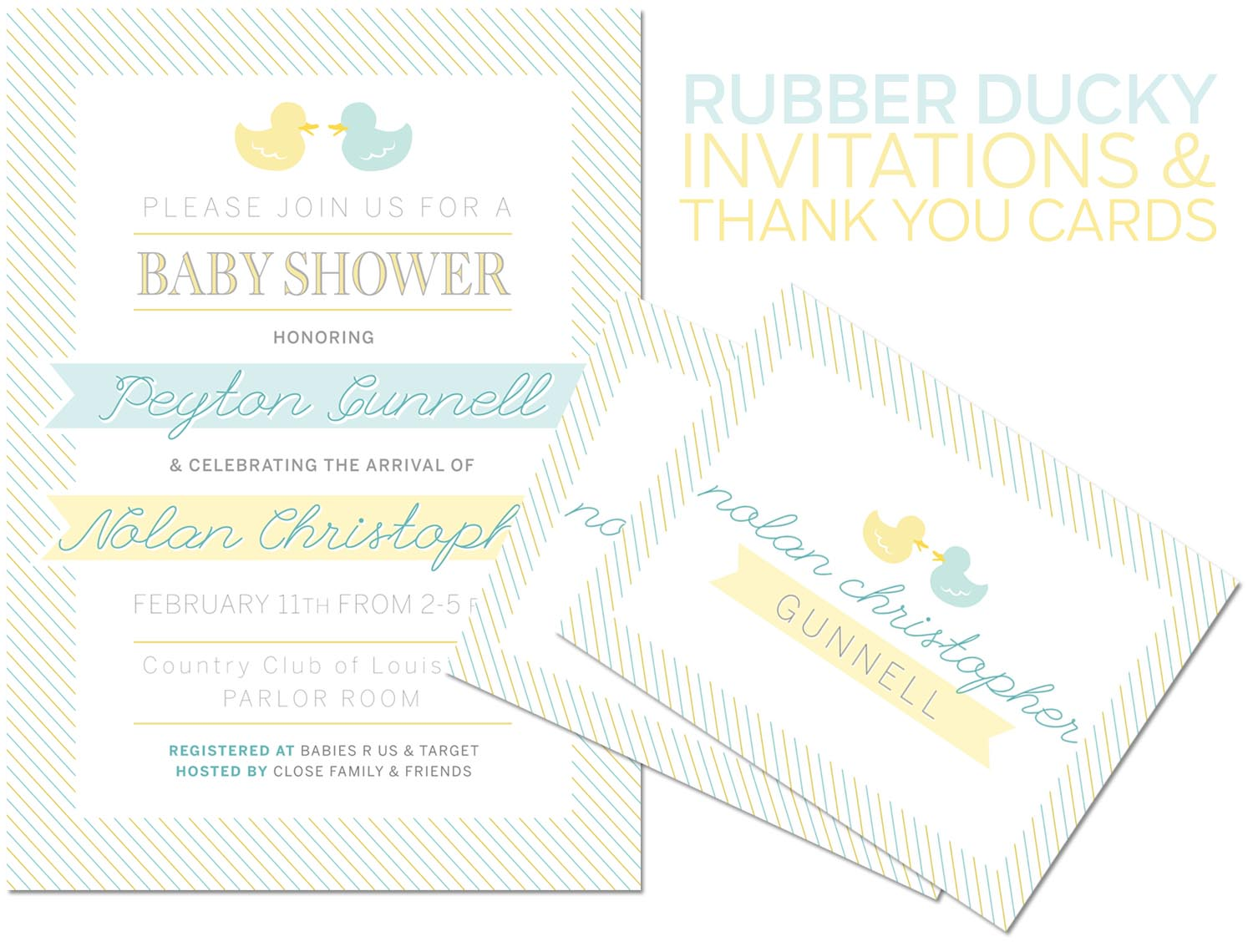 southern fashion style blog rubber duck baby shower invitations