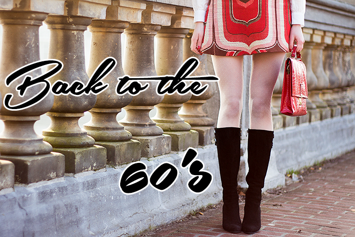 60s Retro Vintage Fashion Blogger Outfit with pale dotted tights