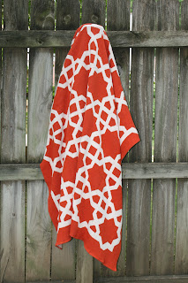 Tangerine Tango Moroccan Fretwork Recycled Cotton Throw