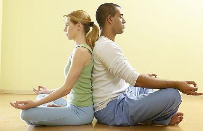 Yoga Postures for Weight Loss  - man woman doing yoga