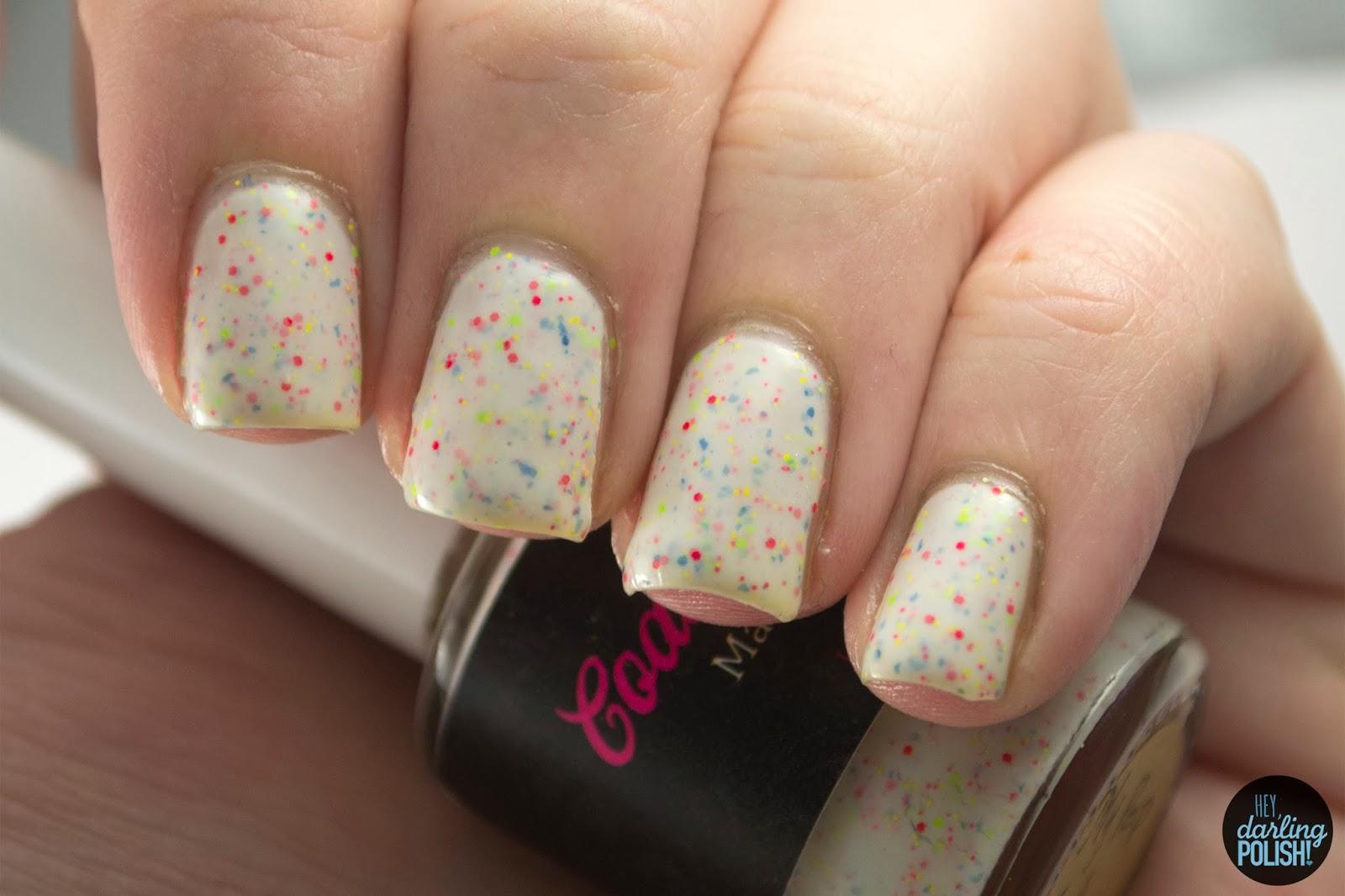 nails, nail polish, polish, indie, indie polish, coated in polish, hey darling polish, my pop tart melted, white
