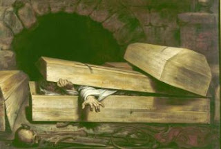 Coffin with a man trapped
