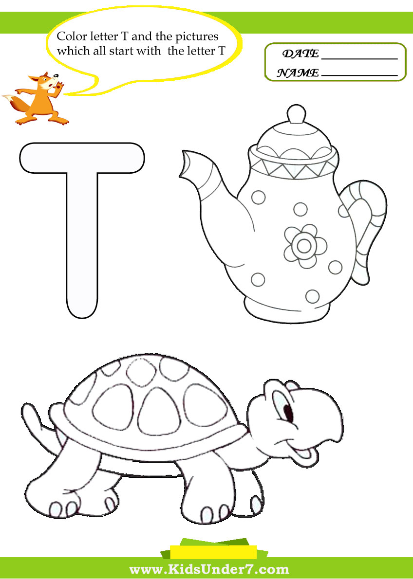 Kids Under 7 Letter T Worksheets and Coloring Pages – Letter T Worksheets