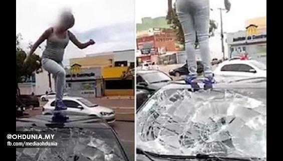 Padah suami curang, Isteri sarat mengandung 'hancurkan' kereta suami