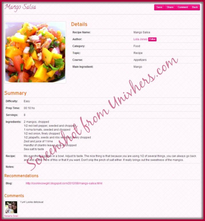 Recipe Post at Univhers.com