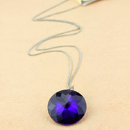 Man-made Deep Purple Crystal Long Necklace Sweater Chain