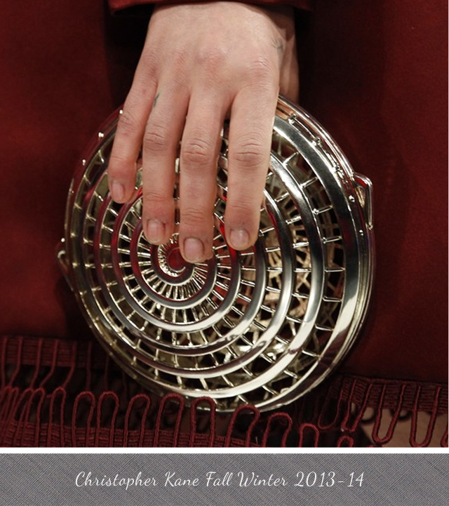 Christopher Kane Round Gold Cage Clutch from Fall Winter 2013 2014