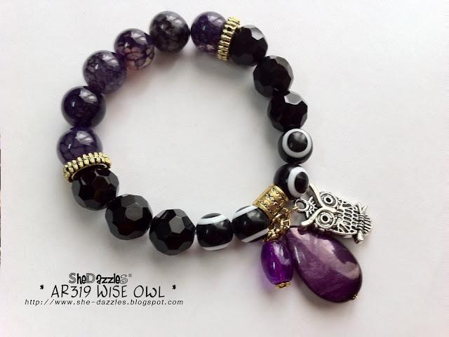 purple-owl-charm-bracelet-stretchable
