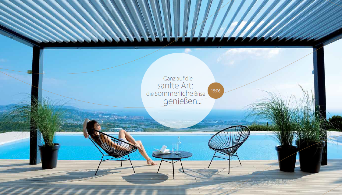 stimmungsvoll die terrasse genie en lamellendach. Black Bedroom Furniture Sets. Home Design Ideas