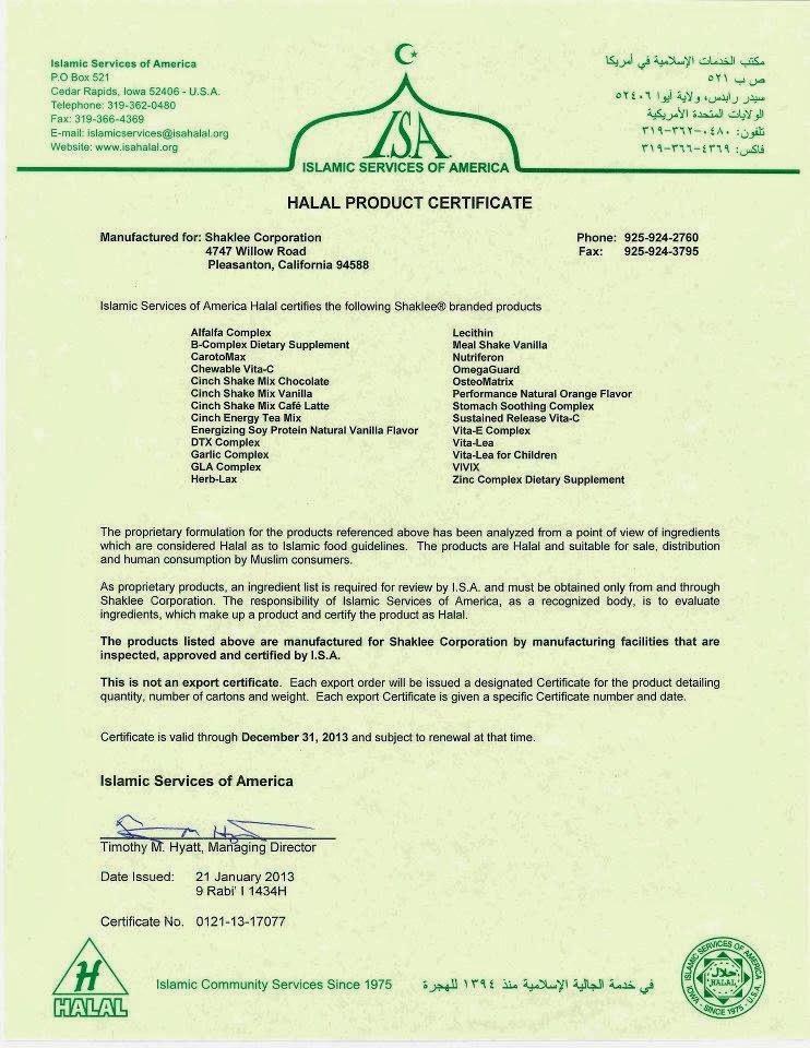 sijil halal shaklee 2013