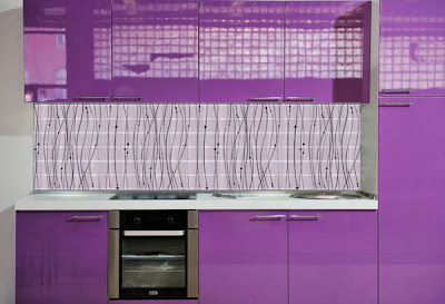 purple modern kitchen with beautiful glass tiles backsplash