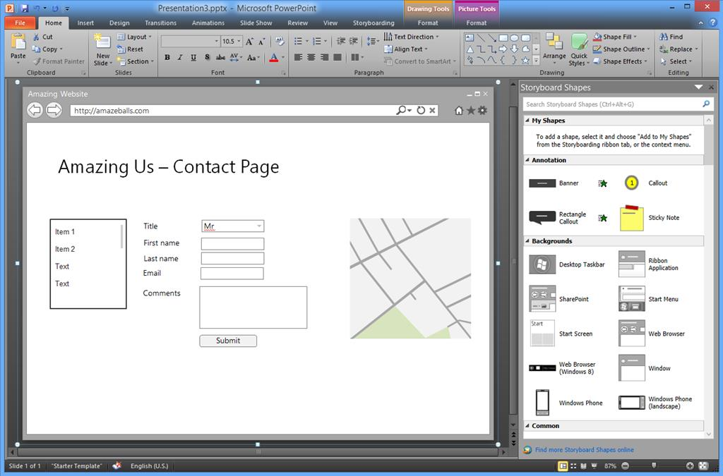 how to create a subpage in balsamiq