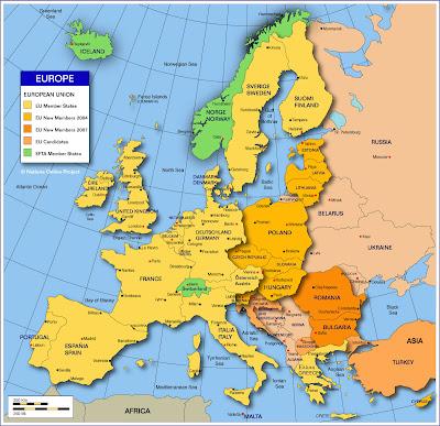 Mapa de Europa País Ciudad